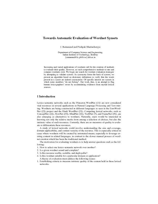 Towards Automatic Evaluation of Wordnet Synsets      3 describes a tas