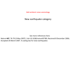 New earthquake category