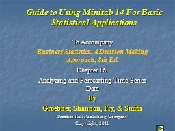 Guide to Using Minitab 14 For Basic Statistical Application