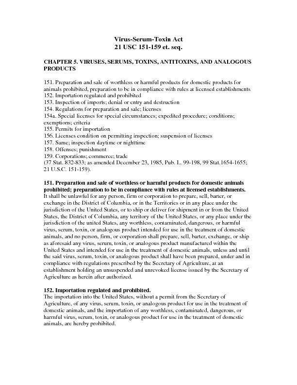 Virus-Serum-Toxin Act  2 of 4 21USC 151-159 The Secretary of Agricultu