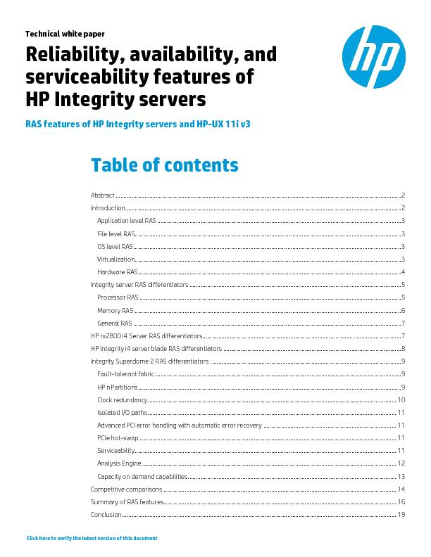 Technical white paper  |  RAS features of HP Integrity servers and HPU