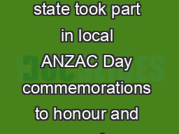 Emergency Services Cadet Corps ESCC units throughout the state took part in local ANZAC Day commemorations to honour and remember those who died in war for their country