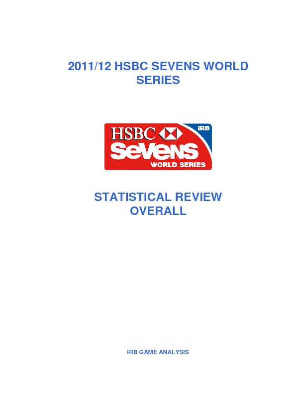2011/12 HSBC SEVENS WORLD SERIES  STATISTICAL REVIEW OVERALL  IRB GAME
