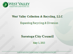 West Valley Collection & Recycling, LLC PowerPoint Presentation, PPT - DocSlides
