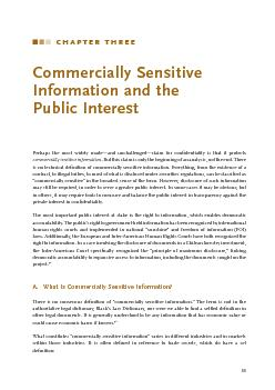 CHAPTER THREE Commercially Sensitive Information and the Public Interest Perhaps the most widely madeand unchallengedclaim for condentiality is that it protects commercially sensitive information
