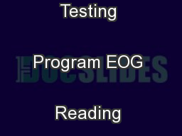 North Carolina Testing Program EOG Reading Grade 6 Sample Items ...