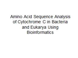Amino Acid Sequence Analysis of Cytochrome C in Bacteria an