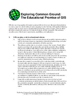 Exploring Common Ground The Educational Promise of GIS page Copyright   Environmental Systems Research Institute Inc