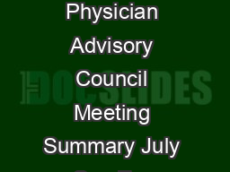Page  of  WellPoint Physician Advisory Council Meeting Summary July    San Franc PDF document - DocSlides
