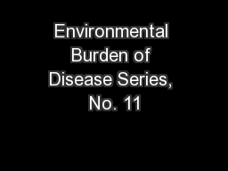 Environmental Burden of Disease Series, No. 11