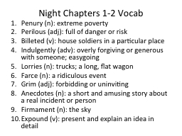 Night Chapters 1-2 Vocab