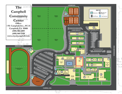 Athletic Field  M M Orchard City Banquet Hall Handball Courts Rec Office Adult Center Auxiliary Gym Main Gym Heritage Theatre Roosevelt Redwood Rm Mar Campbell Rm Board Rm