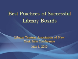 Best Practices of Successful Library Boards