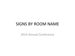 SIGNS BY ROOM NAME PowerPoint PPT Presentation