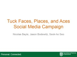 Tuck Faces, Places, and Aces Social Media Campaign PowerPoint PPT Presentation