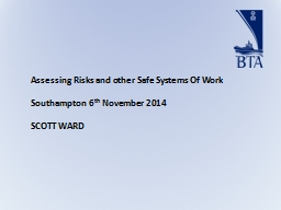 Assessing Risks and other Safe Systems Of Work PowerPoint PPT Presentation
