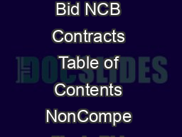 Chapter  NonCompetitively Bid NCB Contracts Table of Contents NonCompe itively Bid NCB Contracts