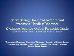 Short Selling Bans and Institutional Investors' Herding Beh