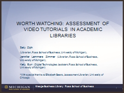 Worth Watching: Assessment of Video Tutorials in Academic L