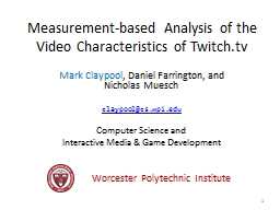 Measurement-based Analysis of the PowerPoint PPT Presentation