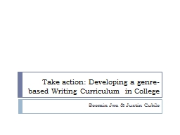 Take action: Developing a genre-based Writing Curriculum in