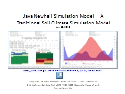 Java Newhall Simulation Model – A Traditional Soil Climat