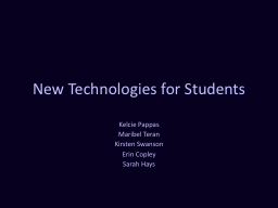 New Technologies for Students PowerPoint PPT Presentation