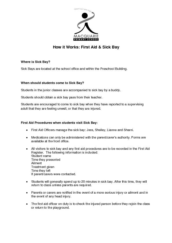 How it Works: First Aid & Sick Bay PowerPoint PPT Presentation