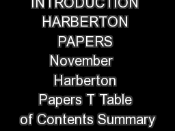 INTRODUCTION HARBERTON PAPERS November   Harberton Papers T Table of Contents Summary
