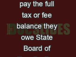 Offer in Compromise For individuals and businesses who cannot pay the full tax or fee balance they owe State Board of Equalization Publication   LDA  June   For important privacy information click he