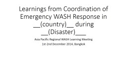 Learnings from Emergency WASH Response implementation