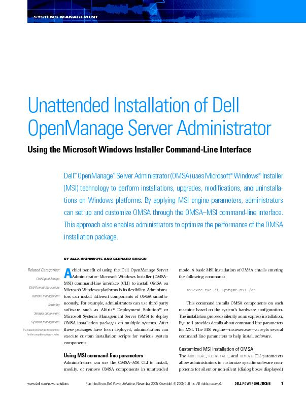 rinted from Dell Power Solutions,November 2005. Copyright