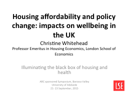 Housing affordability and policy change: impacts on wellbei