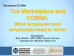 The Marketplace and COBRA:
