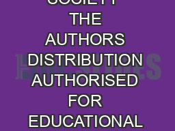 POETRY SOCIETY  THE AUTHORS DISTRIBUTION AUTHORISED FOR EDUCATIONAL USE ONLY POETRYCLASSPOETRYSOCIETY