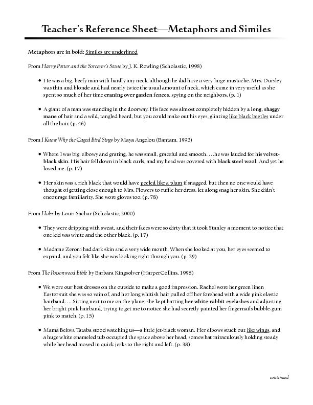 Teacher's Reference Sheet—Metaphors and Similes