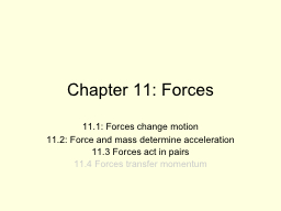 Chapter 11: Forces