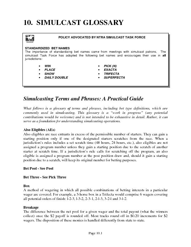 Page 10.1 10.  SIMULCAST GLOSSARYSimulcasting Terms and Phrases: A Pra