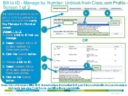 Bill to ID - Manage by Number: Unblock from Cisco.com Profi