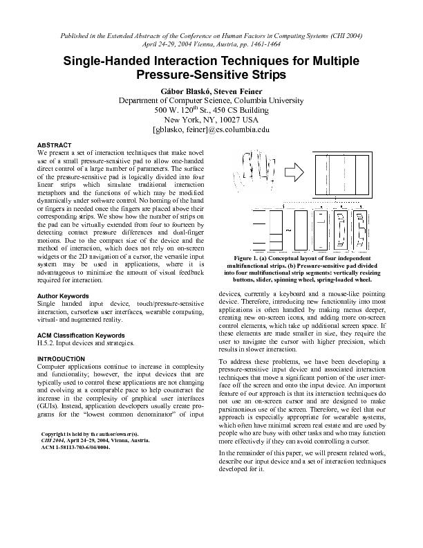 Single-Handed Interaction Techniques for Multiple Pressure-Sensitive S