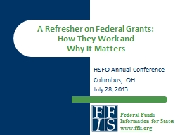A Refresher on Federal Grants: PowerPoint PPT Presentation