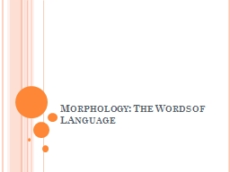 Morphology: The Words of PowerPoint PPT Presentation