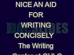 CONCISE IS NICE AN AID FOR WRITING CONCISELY   The Writing Center at GULC