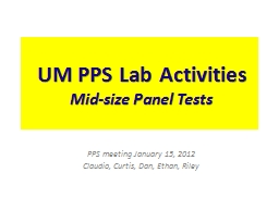 UM PPS Lab Activities