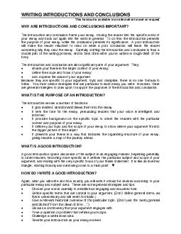 WRITING INTRODUCTIONS AND CONCLUSIONS This handout is available in an alternative format on request WHY ARE INTRODUCTIONS AND CONCLUSIONS IMPORTANT The introduction and conclusion frame your essay mo