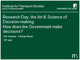 Research Day; the Art & Science of Decision-making