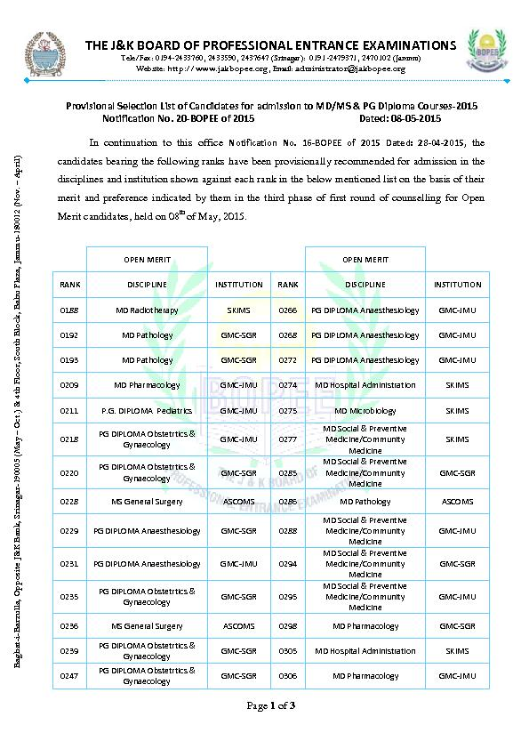THE J&K BOARD OF PROFESSIONAL ENTRANCE EXAMINATIONS