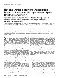 Volume  Number  September  Journal of Athletic Training  by the National Athletic Trainers Association Inc www