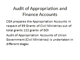 Audit of Appropriation and Finance Accounts