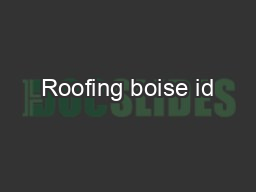 Roofing boise id